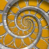 Fractale en spirale ronde abstraite orange de modèle de fond Élément décoratif orange d'ornement de spirale argentée en métal Tex Photographie stock