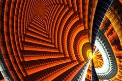 Fractale lumineuse abstraite jaune et orange sur le noir Image libre de droits