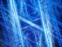 Fractale rougeoyante bleue d'hiver avec des particules Photos libres de droits