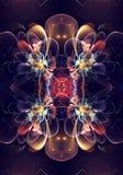 Fractales 3d générées par ordinateur noires uniques artistiques d'une belle illustration exotique de fond de modèle de fleurs illustration stock
