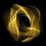 Fractales estrellados ondulados del gas del oro que brillan Imagen de archivo