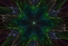 Fractalexplosionstjärna med glans och linjer vektor illustrationer