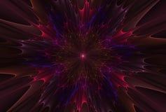 Fractalexplosionstjärna med glans och linjer stock illustrationer