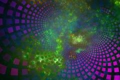 Fractalfliesen, die heraus durch Plasmawolken kurven Stockfotografie