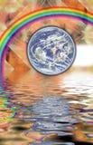 Fractalfonds und -wasser, Erde und der Regenbogen Lizenzfreies Stockbild
