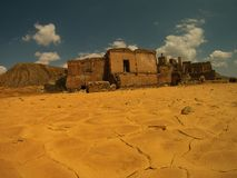 FRACTALS, RUINS AND DROUGHT. Drought and cracks everywhere, in this old mine stock photos