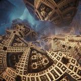 Fractals w postaci strzała Przedstawienie kierunek lub sposób Epicki abstrakcjonistyczny tło Obrazy Royalty Free