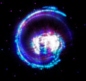 Fractalspiral som vävas från tunna strålar, stjärnor och Royaltyfria Foton