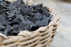 Fraction of dust charcoal in the woven basket Stock Photos