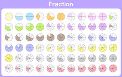 Fraction for education. Leaning fraction for education - worksheet Royalty Free Stock Photo