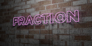FRACTION - Glowing Neon Sign on stonework wall - 3D rendered royalty free stock illustration. Can be used for online banner ads and direct mailers Royalty Free Stock Photography