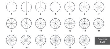 Fraction Pie clip art  for education on white background vector. Illustration Royalty Free Stock Photos