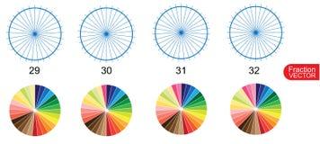 Fraction Pie clip art  for education on white background vector. Illustration Stock Image