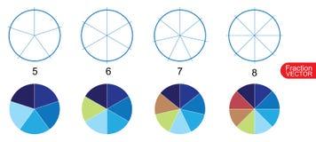 Fraction Pie clip art  for education on white background vector. Illustration Stock Photos
