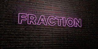 FRACTION -Realistic Neon Sign on Brick Wall background - 3D rendered royalty free stock image. Can be used for online banner ads and direct mailers Royalty Free Stock Images