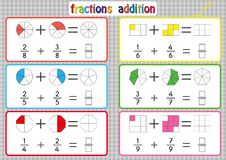 Fractions Addition, Printable Fractions Worksheets for students and Teachers, fraction addition problems. Add two fractions and wr. Fractions Addition, Printable royalty free illustration