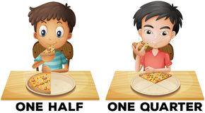 Fractions one half and one quarter Stock Image