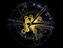 Fractions of Time. Interplay of clock components and abstract design elements on the subject of time, deadlines, past, present and future Stock Image