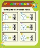 Fractions worksheet, Fraction Review, fraction practice, educational, Equivalent Fractions, math activity for kids royalty free illustration