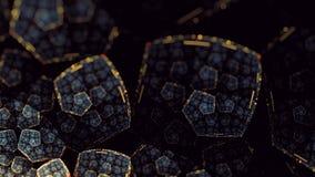 Earthy gold glyn flower flame fractal art variation 2 stock illustration
