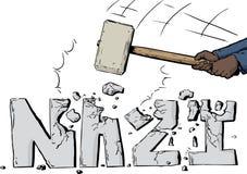 Fractura para arriba de palabra nazi con el martillo de trineo libre illustration