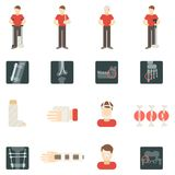 Fracture Bone Flat Icons Set Stock Images