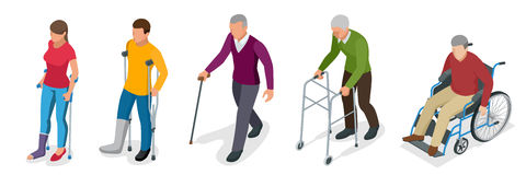 Fracture of leg or leg injury. Young and old people in a gyse with crutches, a wheelchair. Rehabilitation after trauma. Orthopedics and medicine. Flat 3d Stock Photos