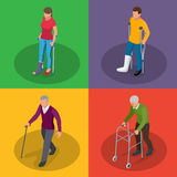 Fracture of leg or leg injury. Young and old people in a gyse with crutches, a wheelchair. Rehabilitation after trauma. Orthopedics and medicine. Flat 3d Royalty Free Stock Photos