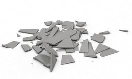 Fracture objects,isolated on the white 3d render Royalty Free Stock Photo