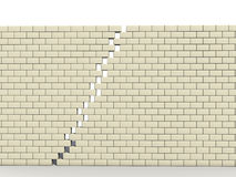 Fracture in wall of white blocks �1 Stock Photo