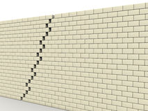 Fracture in wall of white blocks №2 Stock Image
