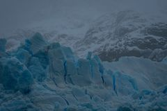 Fractured blue ice on a glacier in Argentina royalty free stock images