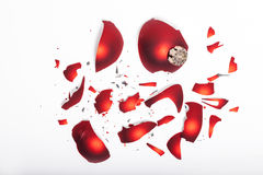 Fractured Christmas bauble. On white Stock Image