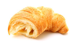 Fractured croissant isolated on white Stock Photos