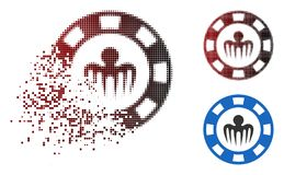 Fractured Dot Halftone Monster Casino Chip Icon. Monster casino chip icon in dispersed, pixelated halftone and undamaged whole versions. Pixels are arranged into vector illustration