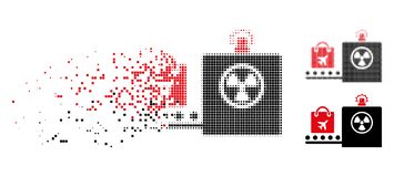 Fractured Dotted Halftone Baggage Screening Icon royalty free illustration