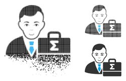Fractured Dotted Halftone Bookkeeper Icon with Face. Bookkeeper icon with face in fractured, pixelated halftone and undamaged solid versions. Particles are vector illustration