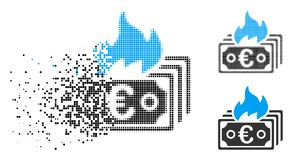Fractured Dotted Halftone Burn Euro Banknotes Icon. Burn Euro banknotes icon in fractured, dotted halftone and solid versions. Particles are organized into Royalty Free Illustration