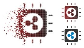 Fractured Dotted Halftone Ripple Processor Chip Icon. Ripple processor chip icon in dissolved, dotted halftone and undamaged entire variants. Elements are stock illustration