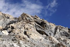Fractured granite rocks near Khardung la (pass) Royalty Free Stock Image
