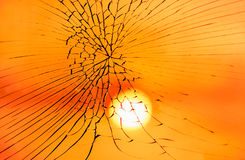 Fractured Mirror on blurred reflection of sunset. Sky background Stock Photos