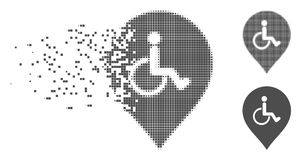 Fractured Pixel Halftone Disabled Person Parking Marker Icon. Gray vector disabled person parking marker icon in dissolved, pixelated halftone and undamaged Royalty Free Stock Image