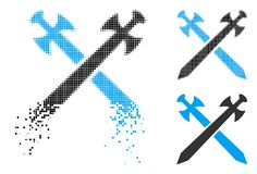 Fractured Pixelated Halftone Medieval Swords Icon. Medieval swords icon in dissolved, dotted halftone and undamaged whole variants. Particles are arranged into royalty free illustration