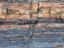 Fractured shale an sandstone beds Royalty Free Stock Image
