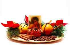 Fragant christmas decoration. Including spices and fruits Royalty Free Stock Photo