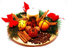 Fragant christmas decoration. Including spices and fruits Stock Image