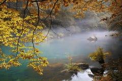 Fragas eume河在秋天, Coruña,西班牙 免版税图库摄影