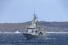 Fragata de la Anzac-clase de HMAS Perth FFH 157 de la marina de guerra australiana real fotos de archivo libres de regalías