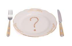 Frage über Mahlzeit Stockfotos