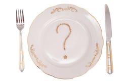 Frage über Mahlzeit Stockfoto